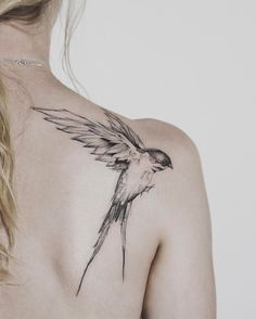 Flying bird tattoo on shoulder by @tritoan__seventhday