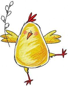 Easter Drawings, Bird Drawings, Doodle Drawings, Doodle Art, Animal Drawings, Cute Drawings, Chicken Drawing, Chicken Art, Easter Paintings