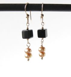 Black Glass and Freshwater Pearl Earrings on 14k Gold Filled Wires, 14k gold filled earrings with Black Glass Cubes and Freshwater Pearls by AustinDowntoEarth on Etsy