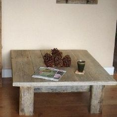Square barnwood coffee table by LauranikaEnterprises on Etsy, $450.00