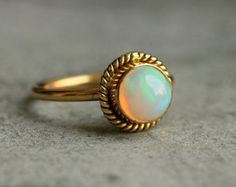 Proposal ring - 14K Gold Opal ring - Natural Opal Ring - Engagement ring - Artisan ring - October birthstone - Bezel ring - Gift for her