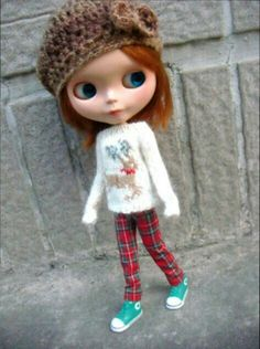 Blythe reindeer sweater knitted by me