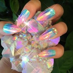 Nail Art Designs In Every Color And Style – Your Beautiful Nails Gorgeous Nails, Pretty Nails, Crome Nails, Opal Nails, Crystal Nails, Diamond Nails, Nail Art Photos, Glow Nails, Colorful Nail