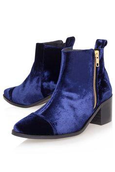 **Mid Heel Velvet Boots by Kurt Geiger - Boots - Shoes - Topshop