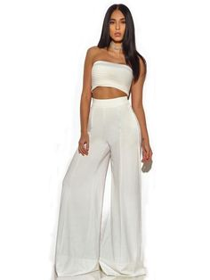 f973512eb0a Sayuri Seashell White Stretch Crepe Strapless Two Piece Pantsuit
