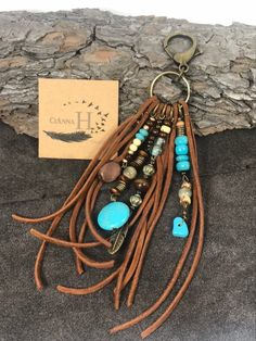 Excited to share this item from my shop: Beautiful BOHO leather fringe turquoise beaded purse tassel western Diy Leather Earrings, Leather Keychain, Leather Jewelry, Boho Jewelry, Jewelry Crafts, Beaded Jewelry, Jewelery, Handmade Jewelry, Handmade Beads
