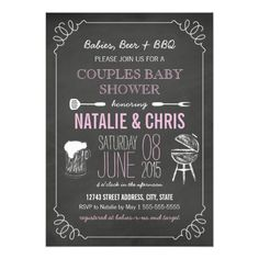 Pink Chalkboard Couples BBQ Child Bathe Invite. ** Discover even more by clicking the photo link