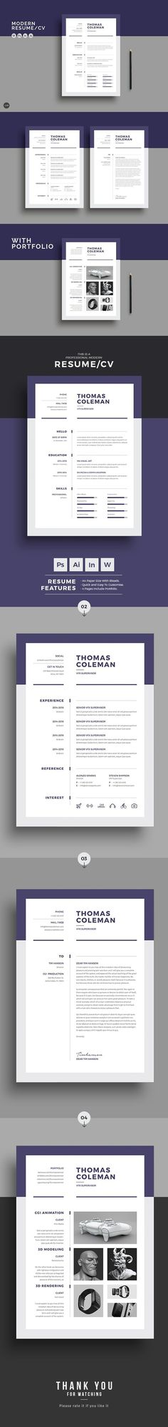 Word Resume Template - Resume Template for Word + Cover Letter - ms word resume templates free