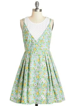 Stay Sweet Dress. Youre spending the day hanging out a friend who has moved cross-county, reliving memories while perched on a bench in this pastel floral dress by Louche! #green #modcloth