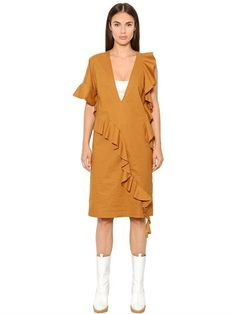 MAISON MARGIELA Ruffled Cotton Blend Poplin Dress, Camel. #maisonmargiela #cloth #dresses
