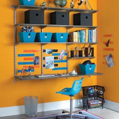 The Container Store > Driftwood & Platinum elfa Study Zone X-ray storage? Elfa Shelving, Shop Shelving, Shelving Systems, Storage Shelves, Office Shelving, Desk Shelves, Kids Storage, Storage Spaces, Lego Storage