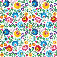 Seamless Polish Folk Art Floral Pattern - Wzory Lowickie, Wycinanki Stock Illustration - Illustration of design, nature: 53501191 Hungarian Embroidery, Folk Embroidery, Learn Embroidery, Embroidery Patterns, Arte Floral, Clipart, Bordado Popular, Polish Folk Art, Floral Pattern Vector