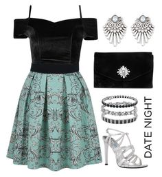 """Fancy Date Night"" by oagraci ❤ liked on Polyvore featuring Closet, Forever 21, Gunne Sax By Jessica McClintock, Prada, Finesque, Bottega Veneta and Blue Nile"
