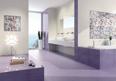 Fab Bath in Serenity Inducing Purple and White Color Scheme - Decorating Diva