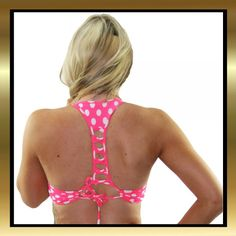 eb62403b489944 Pink and White Polka Dot Stretch Lycra Criss Cross Tie Back Crop Top
