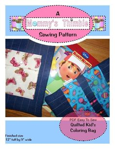 Easy to Sew Quilted Kid's Coloring Bag.