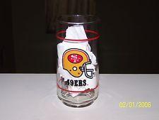 "Vintage NFL San Francisco 49ers Football Mobil Oil Drinking Glass New 16 oz. 6"""