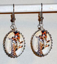 Ohrringe Giraffe Damen Hänger Ohrschmuck Modeschmuck ohne Stein Durchzieher Glas