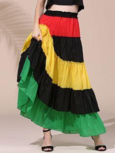 $10.19 Stylish Women's Elastic Waist Asymmetric Color Block Skirt