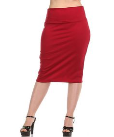 Loving this Burgundy Pencil Skirt - Plus on #zulily! #zulilyfinds