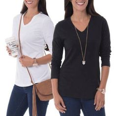 Faded Glory Women's Essential Long-Sleeve V-neck Tee 2-Pack Value Bundle, Size: 2XL, Black