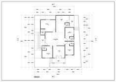 Denah rumah satu lantai luas 134m2 ~ 1000+ Inspirasi Desain Teknologi Konstruksi Arsitektur Dena, House Plans, Sweet Home, Floor Plans, How To Plan, Home Plans, House Beautiful, House Floor Plans, House Design