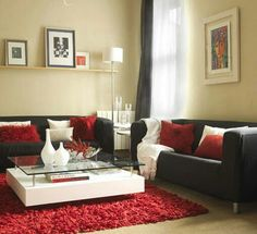 Beautiful red, white and black living room.. Combinación de colores para la sala de estar
