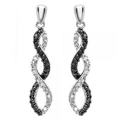 Diamond Earrings Design | 008 Carat ctw Sterling Silver Round Black  White Diamond Ladies Infinity Swirl Dangling Earrings * Click image for more details.(It is Amazon affiliate link) #commentalways