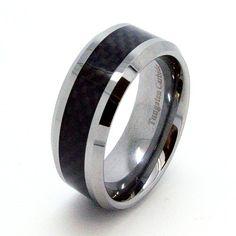 10mm Tungsten Black Carbon Fiber Mens Wedding Rings Fashion Band Size $399.95