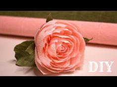 Камелия с гофрированной бумаги / DIY Crape Paper Camellia - YouTube