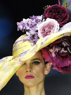 Let this prove that the Derby Day hat embraces both the top and underside of the hat for adornments!