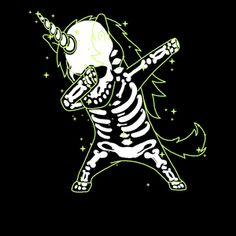 Dabbing Unicorn Skeleton Shirt Dab Hip Hop X-Ray Glow Effect 2