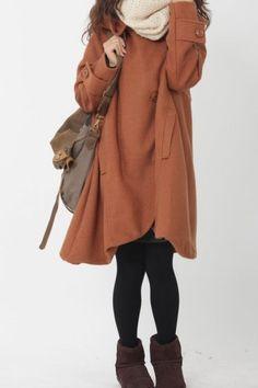 Orange cloak wool coat Hooded Cape women Winter wool coat