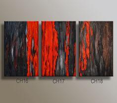 """60"""" original Textured abstrakt Triptychon Painting on Canvas zeitgenössische moderne Kunst Blak grau rotbraun Malerei Ready to Hang Wand-Dekor"""