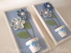 Quadro flor de fuxico - dupla retangular | Princess Mavi Ateliê | Elo7