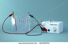 Electrolysis of water. Educational chemistry. Electrolysis of water into hydrogen and oxygen gas. 3D Render.