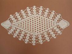 Handmade crochet doily color - ecru ( ivory ) 100 % - cotton size - 17 x 10 (44 cm . x 25 cm . )