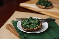 Spinach Stuffed Portabellas. I love spinach and mushrooms, and this just looks like an awesome healthy side dish.