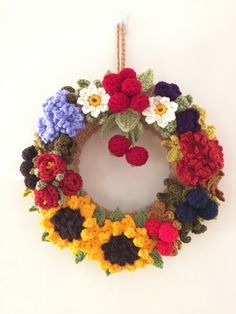 https://flic.kr/p/tyMtUy | Crocheted Wreaths - Autumn Wreath