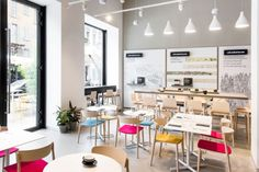 Pedrali and stationery brand Moleskine have teamed up for a special one off literary Café in Milan. Small Coffee Shop, Coffee Shop Design, Cafe Design, Moleskine, Cafe Interior, Interior Design, Cafe Pictures, Bedroom Layouts, Contemporary Home Decor