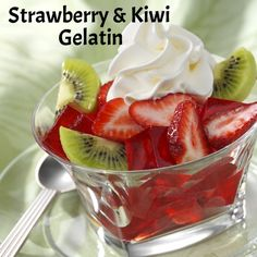 Enjoy a spoonful of fresh sliced strawberries, kiwi and gelatin! Don't forget to top it with Reddi-wip!