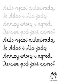 Nauka pisania: wierszyki: 1 Nauka pisania Learn Polish, Classroom, Math Equations, Education, Learning, School, Speech Language Therapy, Class Room, Studying