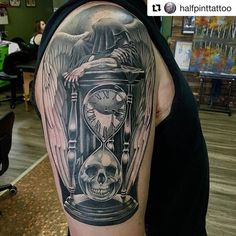 olio.tattoo Skull Clock Finish Hourglass Tattoo by @halfpinttattoo from Bicycle Tattoo & Piercing - South Bend, IN @halfpinttattoo @repostapp #skull #clock #finish #hourglass -- More at: https://olio.tattoo/tattoo-images/mentions:skull