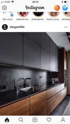 Black Kitchen Decor, Kitchen Room Design, Luxury Kitchen Design, Contemporary Kitchen Design, Kitchen Cabinet Design, Home Decor Kitchen, Interior Design Living Room, Home Kitchens, Modern Kitchen Cabinets