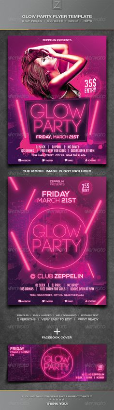 Glow Party Flyer Template — Photoshop PSD #event #colors • Available here → https://graphicriver.net/item/glow-party-flyer-template/6842215?ref=pxcr