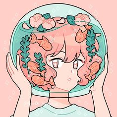 Redid my fishbowl drawing~ (Not cherry FYI ; Arte Do Kawaii, Kawaii Art, Cartoon Art Styles, Cute Art Styles, Art Anime, Anime Kunst, Kawaii Drawings, Cute Drawings, Aesthetic Anime