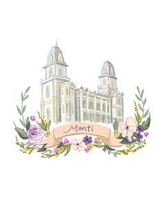 Manti Temple, LDS painting, Mormon art, Latter Day Saint, Flower wreath, ribbon, violet, Christmas gift, Utah temple digital printable file