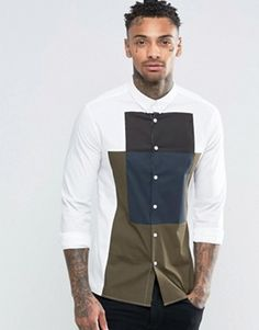 ASOS Skinny Shirt In White With Cut And Sew And Long Sleeves
