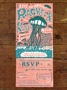 Illustrated and hand carved lino block wedding invitation for Widespread Panic fans! Hand typeset wood and metal type for RSVP card. Turquoise and coral beach wedding traditonal letterpress set! Lightening and Jellyfish, oh my!