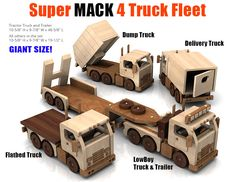 Buy and build the Super MACK 4 Truck Fleet full-size wood toy plan set!